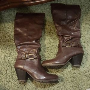 Rouched Chocolate Brown Boots